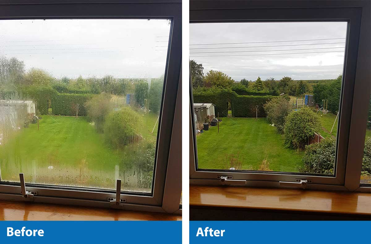 Misted Glass Panels Before and After Replacement